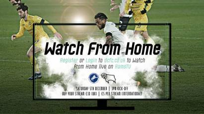 Watch From Home: Millwall Vs Derby County LIVE On RamsTV