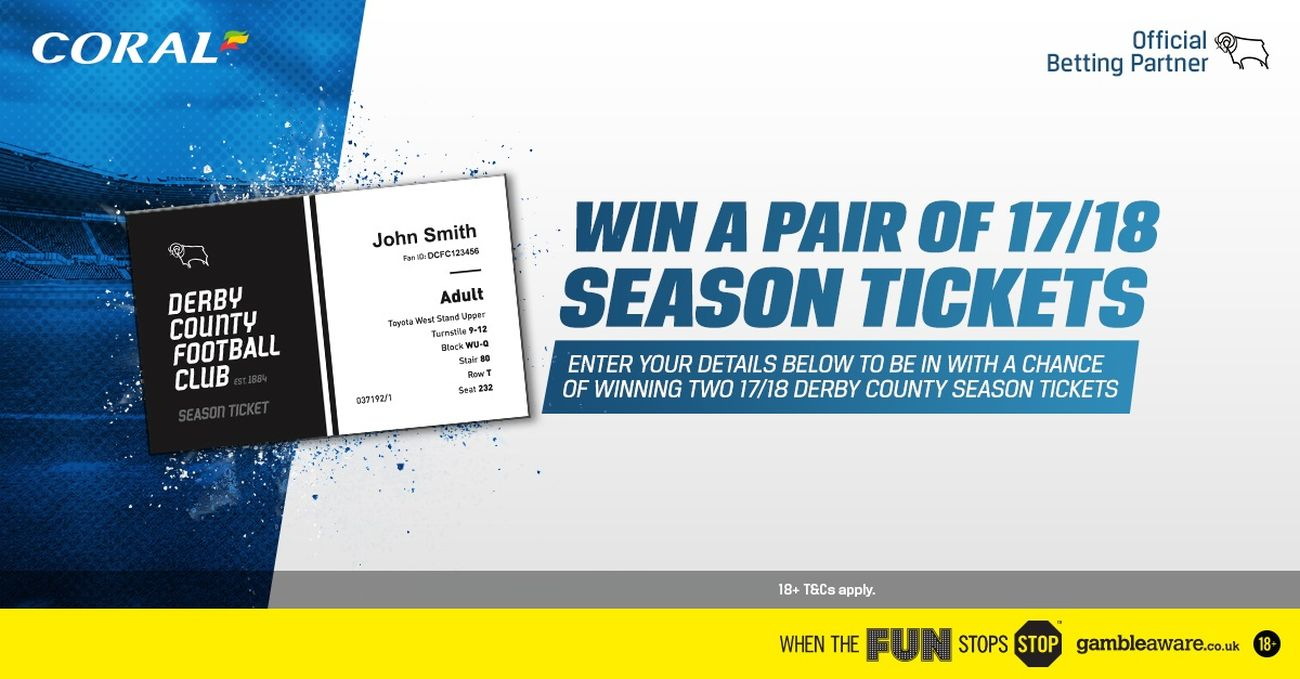 Win Two FREE Season Tickets With Coral - Blog - Derby County